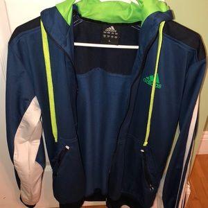 blue adidas jacket.